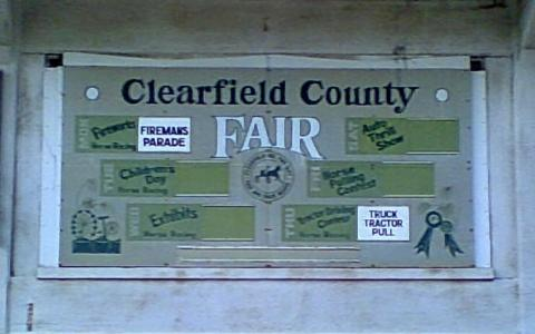 Clearfield County Fair green and white sign
