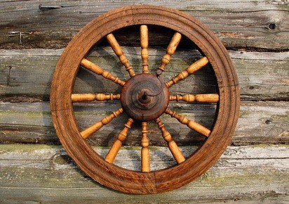 Pennsylvania home textile museum spinning wheel on the side of a log building