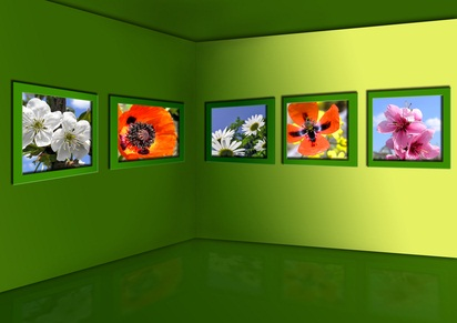 PA art museum with flowers on a green gallery wall