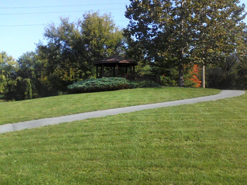 green grass, trees and a gazebo in Pennsylvania