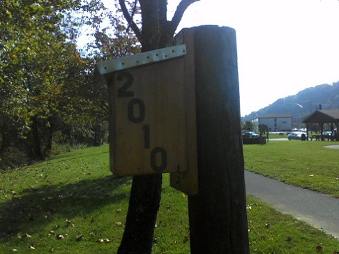 birdhouse on a tree with 2010 on it with a pavilion and mountains backdrops