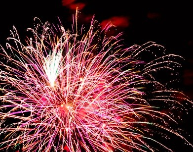 pink fireworks at a PA festival in Lock Haven Pennsylvania