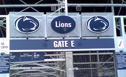 Pennsylvania State University Beaver Stadium blue lions sign