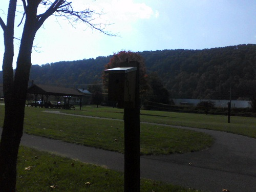 a Pennsylvania park with a birdhouse and pavillion