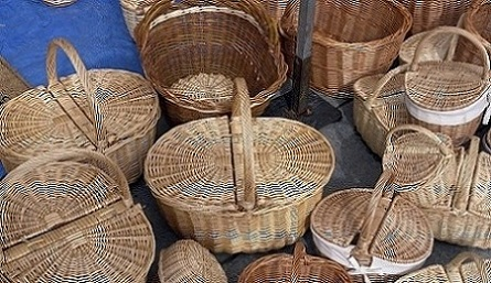 different size baskets at the fair