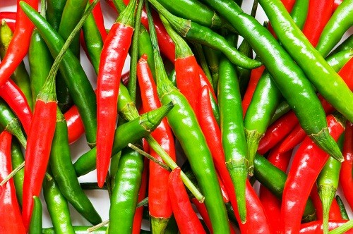 red and green hot chili peppers