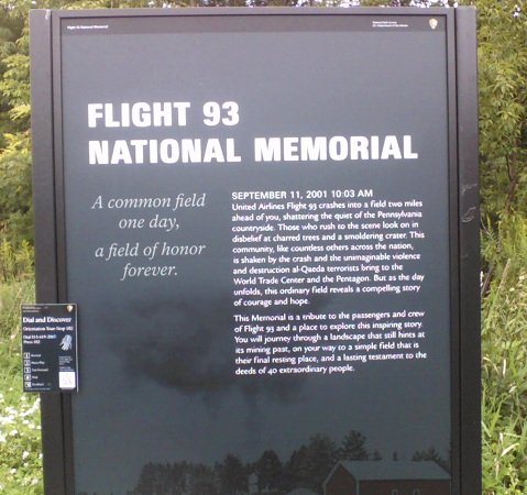 flight 93 national memorial sign with details of 9-11-01