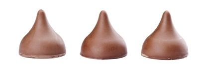 three Hershey chocolate kisses candy