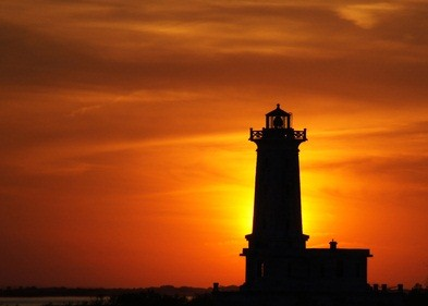 lighthouse in Erie at sunset
