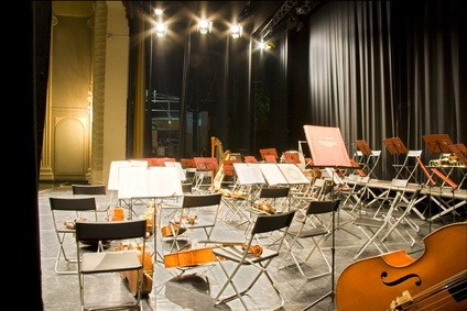 chairs and instruments in a theatre pit in PA