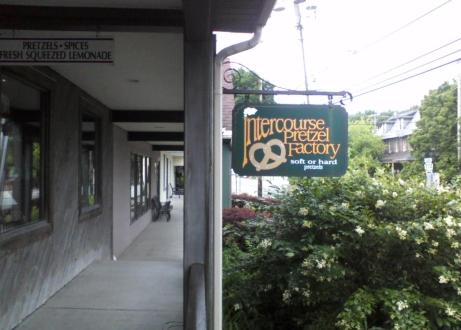 Intercourse PA pretzel factory sign off the side of the walkway
