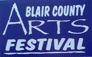 PA festivals Blair County PA Arts Festival dark blue and light blue sign
