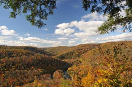World's End State Park Forksville PA Sullivan County PA mountains in the fall with blue sky and white clouds overhead