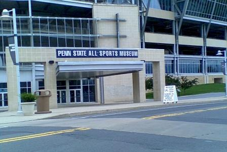 Penn State All Sports Museum blue and white sign in State College PA