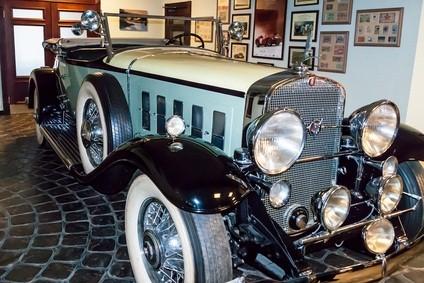 vintage car inside a museum
