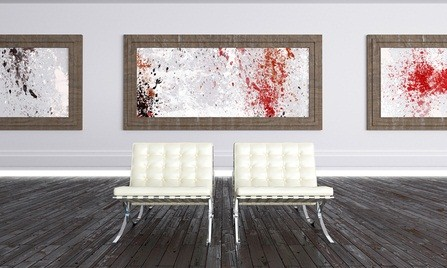 Pennsylvania museums abstract paintings on the wall with two white chairs on a wood floor