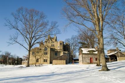 Philadelphia museums Mercer Museum in the winter with snow covering the ground in Doylestown PA, Bucks County PA