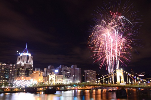 fireworks by the rivers in Pittsburgh at night