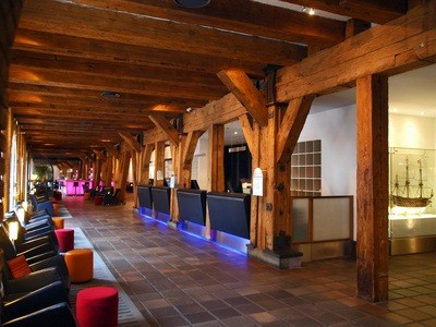 lobby in the poconos mountains with wood beams
