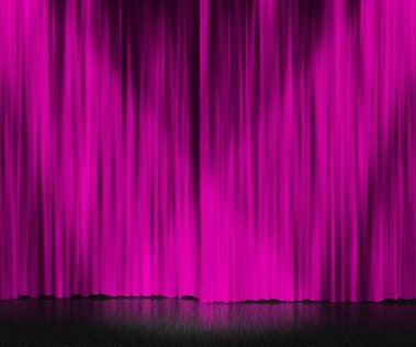theatre stage in PA with a bright purple curtain