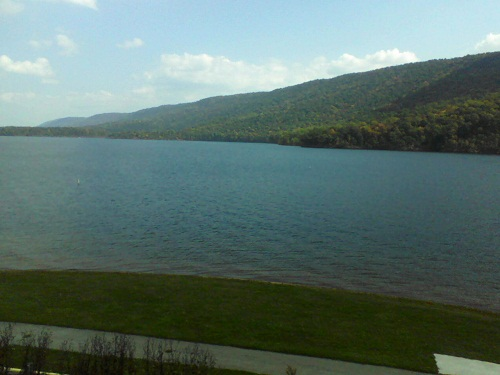 Raystown Resort lake in Huntingdon PA water, mountains and blue sky with white clouds