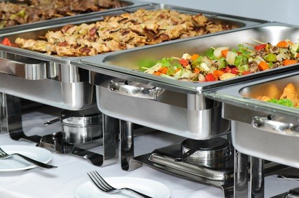 buffet with meat and vegetables