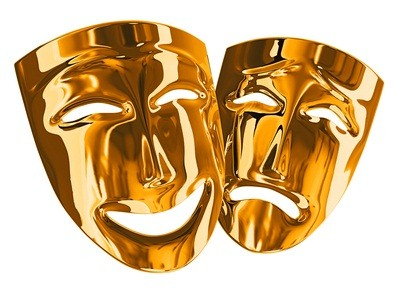 two gold theater masks