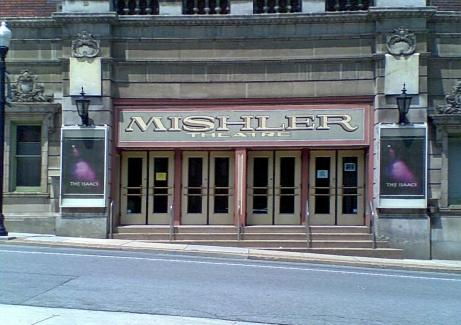 theatres in PA Mishler Theatre sign on a stone building above four sets of doors and steps in Altoona PA, Blair County PA