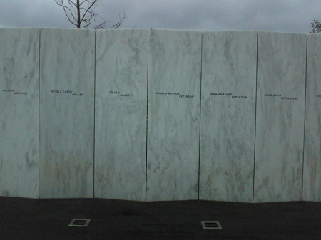 six names on the wall flight93 memorial in Stoystown PA
