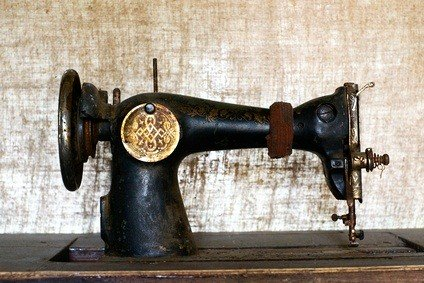 old sewing machine in a fabric museum in Philadelphia Pennsylvania
