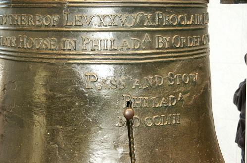 closeup of the liberty bell in Philadelphia