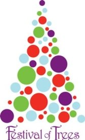 festivals in PA Festival of Trees in Erie PA red, green, light blue and purple circles forming a tree