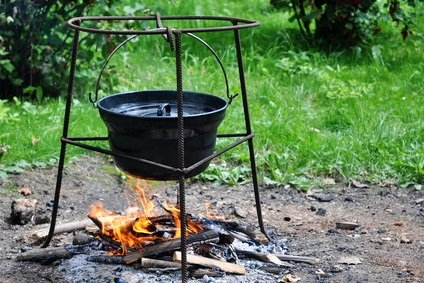black kettle over a fire