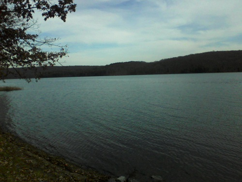 Mckean County Pennsylvania blue water lake with mountains