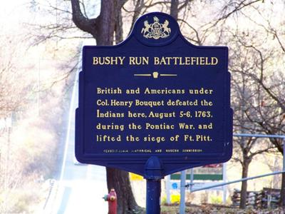 museums in Pennsylvania blue Bushy Run Battlefield sign in Jeannette Westmoreland County PA