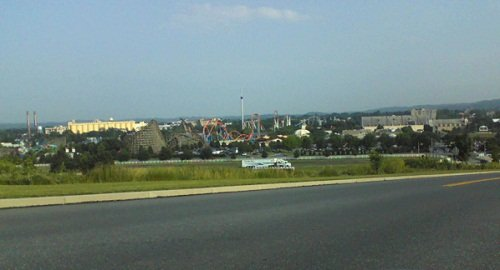 Hersheypark in Hershey PA, Dauphin County PA showing rides in the distance including the rollercoaster