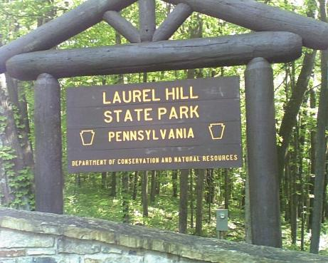 Laurel Hill State Park brown sign with yellow letters with a forest with green trees in the background in Somerset PA