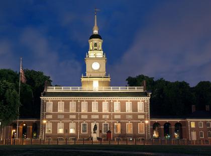 Philadelphia independence hall at night