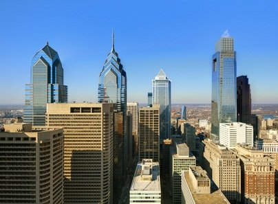 downtown Philadelphia Pennsylvania with skyscrapers and blue sky
