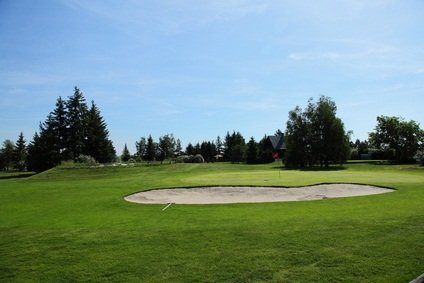 sand pit on green
