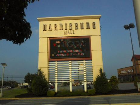 yellowish tan Harrisburg Mall sign in Dauphin County PA