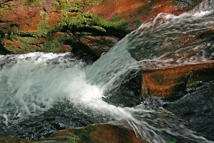 cascading waterfall in the poconos Pennsylvania